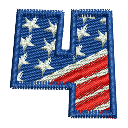 Star Spangled Number 4 Embroidery Services Back Patch
