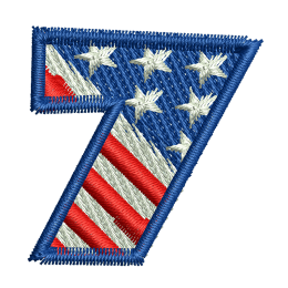 Star Spangled Number 7 Embroid Patches For Jackets