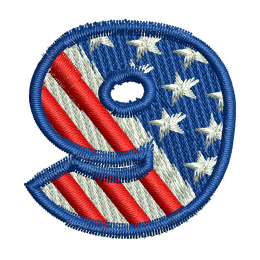 Star Spangled Number 9 Embroid Back Patch