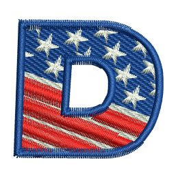 Star Spangled Letter D Embroidery Stitch Back Patch