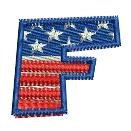 Star Spangled Letter F Embroidery Digitizing Patches For Clothes