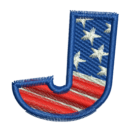 Star Spangled Letter J Embroidery Digitizing Jean Patches
