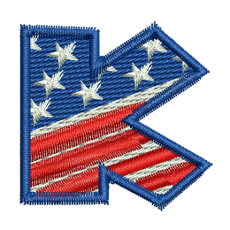 Star Spangled Letter K Embroidery On Sweatshirts Heat Patches