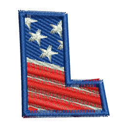 Star Spangled Letter L Embroidery On Jeans Embroidery Patches