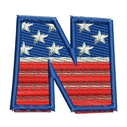 Star Spangled Letter N Embroidery On Clothes Heat Patches
