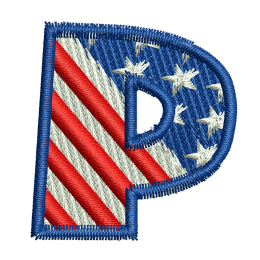 Star Spangled Letter P Custom Embroidery Near Me