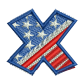 Star Spangled Letter X Embroidery Patches For Jackets