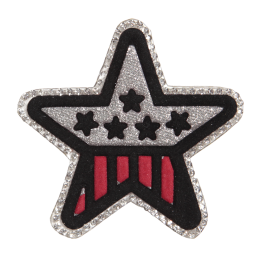 Fabric Surface Star Patch with Glitter and Rhinestones