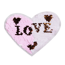 Sequin Reversible Pink Heart with Love in It Patch