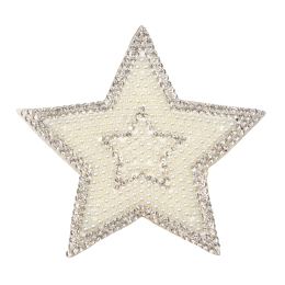 Bling Rhinestone with Pearl White Beads Star Applique for Bride