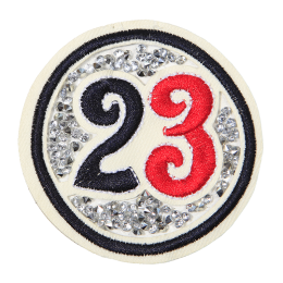 Red and Black Number 23 Round Badge with Rhinestones