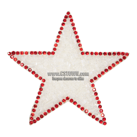 Red Rhinestone with Pearl White Beads Star