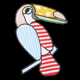 American Flag Toucan Big Applique