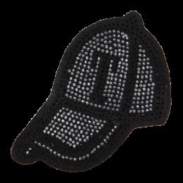 Fashion Black Hat Motif Rhinestud Applique