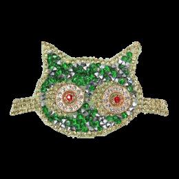 Green Rhinestone Cute Cat Patch