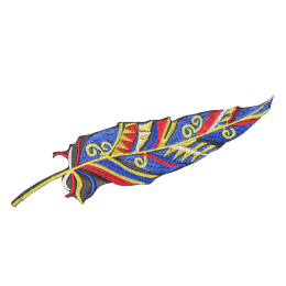 Vintage Style Feather Embroidery Patch