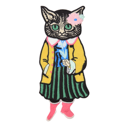 Fashion Cat Girl in Yellow Coat Embroidery Patch