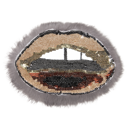 Sequin Mouth with Fur Like Tassels Applique Patch
