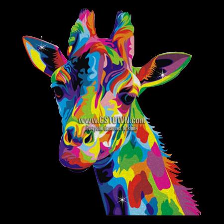 Neon Color Giraffe Fashion Custom Iron on Vinyl Transfer for