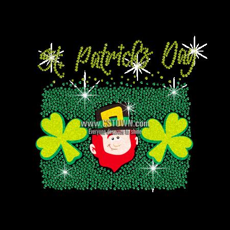 Customized Glitter Saint Patricks Elf Rhinestone