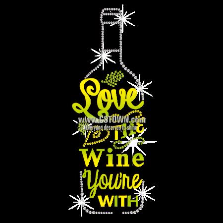 Diy Graphic Love The Wine Rhinestone Iron Ons