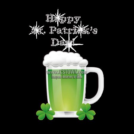 Print Green Beer Rhinestone Vinyl Transfer for Saint Patricks Day