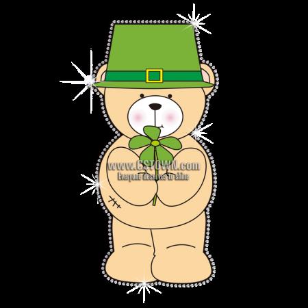 Sale Saint Patricks Bear Rhinestone Vinyl Transfer