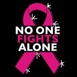 No One Fights Alone Pink Ribbon Motif Custom Heat Transfer