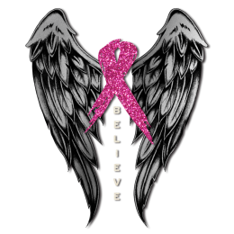 Believer with Wings Pink Ribbon for Breast Cancer Heat Transfer