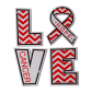 Love and Hope for Breast Cancer Ribbon Themed Heat Transfer
