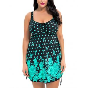 Over Size Ruched Skirted Cover Up Swimdress One Piece Illusion