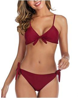 V-May Swimwear Women's Lace up Bikini Set