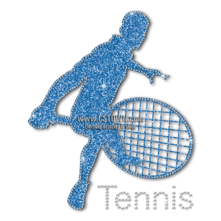 Blue Glitter Tennis Wholesale Heat Transfer For Shirts