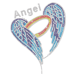 Teal Blue Angel Wings Iron-on Rhinestone Transfer