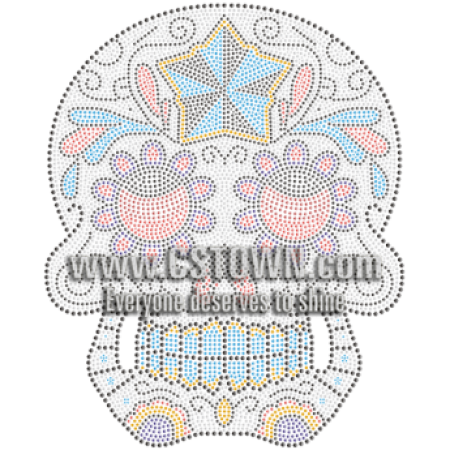 Blue Teeth Skull Strass Transfer
