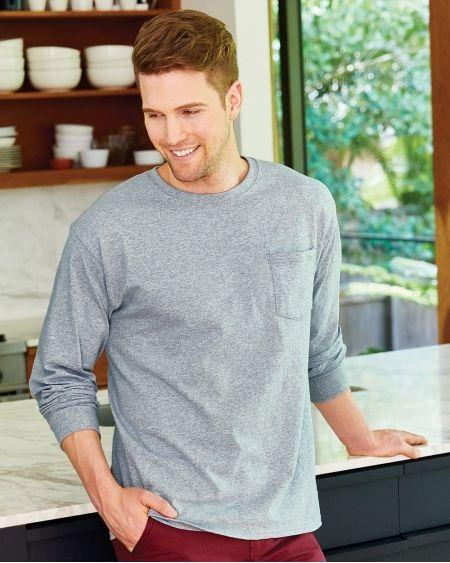 Hanes-Tagless® Long Sleeve Pocket T-Shirt-5596